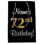 [ Thumbnail: Elegant, Luxurious, Faux Gold Look 72nd Birthday Gift Bag ]