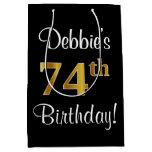 [ Thumbnail: Elegant, Luxurious, Faux Gold Look 74th Birthday Gift Bag ]