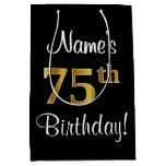 [ Thumbnail: Elegant, Luxurious, Faux Gold Look 75th Birthday Gift Bag ]