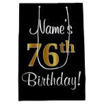 [ Thumbnail: Elegant, Luxurious, Faux Gold Look 76th Birthday Gift Bag ]