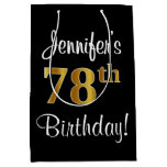 [ Thumbnail: Elegant, Luxurious, Faux Gold Look 78th Birthday Gift Bag ]