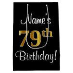 [ Thumbnail: Elegant, Luxurious, Faux Gold Look 79th Birthday Gift Bag ]
