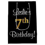 [ Thumbnail: Elegant, Luxurious, Faux Gold Look 7th Birthday Gift Bag ]