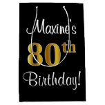 [ Thumbnail: Elegant, Luxurious, Faux Gold Look 80th Birthday Gift Bag ]