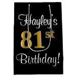 [ Thumbnail: Elegant, Luxurious, Faux Gold Look 81st Birthday Gift Bag ]