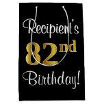 [ Thumbnail: Elegant, Luxurious, Faux Gold Look 82nd Birthday Gift Bag ]