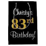 [ Thumbnail: Elegant, Luxurious, Faux Gold Look 83rd Birthday Gift Bag ]