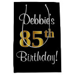 [ Thumbnail: Elegant, Luxurious, Faux Gold Look 85th Birthday Gift Bag ]