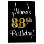 [ Thumbnail: Elegant, Luxurious, Faux Gold Look 88th Birthday Gift Bag ]
