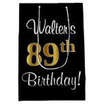 [ Thumbnail: Elegant, Luxurious, Faux Gold Look 89th Birthday Gift Bag ]