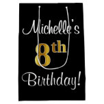 [ Thumbnail: Elegant, Luxurious, Faux Gold Look 8th Birthday Gift Bag ]