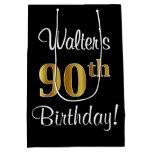 [ Thumbnail: Elegant, Luxurious, Faux Gold Look 90th Birthday Gift Bag ]