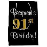 [ Thumbnail: Elegant, Luxurious, Faux Gold Look 91st Birthday Gift Bag ]