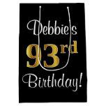 [ Thumbnail: Elegant, Luxurious, Faux Gold Look 93rd Birthday Gift Bag ]
