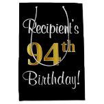 [ Thumbnail: Elegant, Luxurious, Faux Gold Look 94th Birthday Gift Bag ]