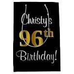 [ Thumbnail: Elegant, Luxurious, Faux Gold Look 96th Birthday Gift Bag ]