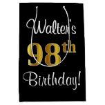 [ Thumbnail: Elegant, Luxurious, Faux Gold Look 98th Birthday Gift Bag ]