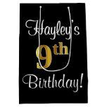 [ Thumbnail: Elegant, Luxurious, Faux Gold Look 9th Birthday Gift Bag ]