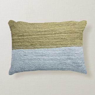 Elegant Luxurious Faux Gold & Silver Paint Strokes Accent Pillow