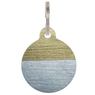 Elegant Luxurious Faux Gold & Silver Paint Strokes Pet ID Tag
