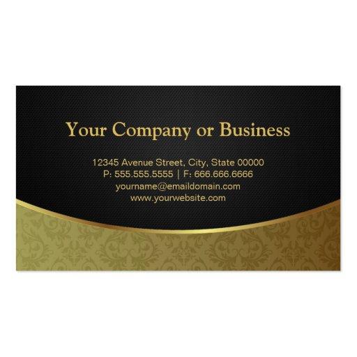 Elegant Luxury Black and Gold Damask Business Card (back side)