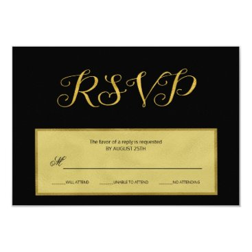 invitations_kits Elegant luxury black and gold wedding rsvp script card
