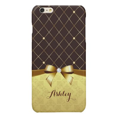 Elegant Luxury Brown Golden Ribbon Damask Diamond Glossy iPhone 6 Plus Case