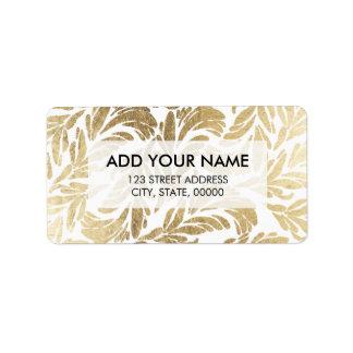Elegant luxury custom faux gold foil floral damask label