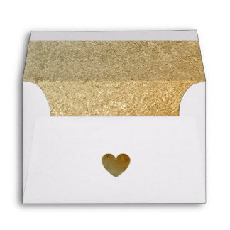 Elegant Luxury Faux Gold Foil Heart 5 X 7 Wedding Envelope
