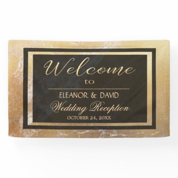 invitations_kits Elegant luxury gold black marble wedding script banner