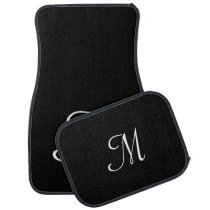 Elegant Luxury Monogram Script Black White Custom Car Floor Mat
