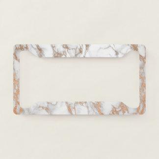 Elegant Luxury Rose Gold Marble Pattern License Plate Frame
