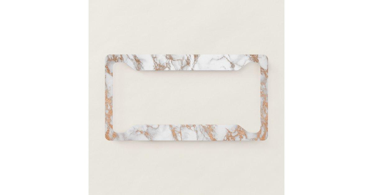 Elegant Luxury Rose Gold Marble Pattern License Plate Frame   Zazzle.com