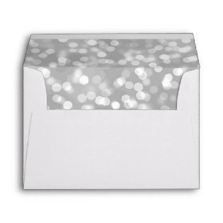 Elegant Luxury | Silver Glitter Bokeh 5X7 Wedding Envelope