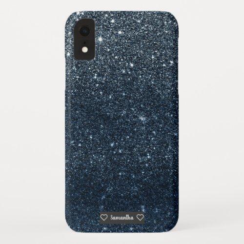 Elegant luxury trendy navy blue glitter sparkles Phone Case