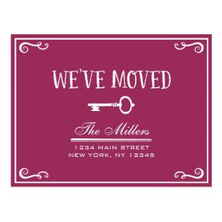 Elegant Magenta Key Moving Announcement Postcard