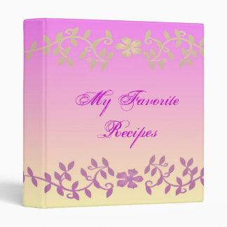 Elegant Magenta Leaves Recipe Book Binder
