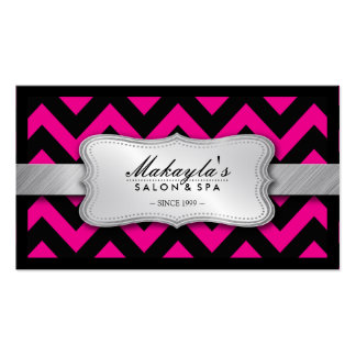 Elegant Magenta Pink and Black Chevron Pattern Double-Sided Standard Business Cards (Pack Of 100)