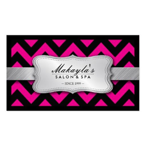 Elegant Magenta Pink and Black Chevron Pattern Business Card Template