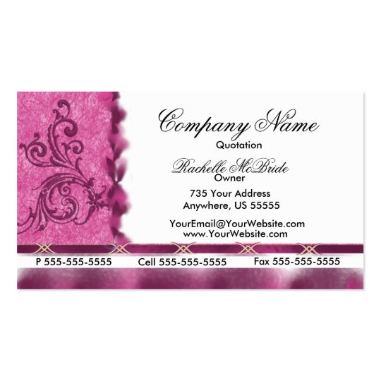 Elegant Magenta Pink  Embroidery Business Cards