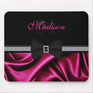 Elegant Magenta Printed Satin Bow Gems Custom Name Mouse Pad