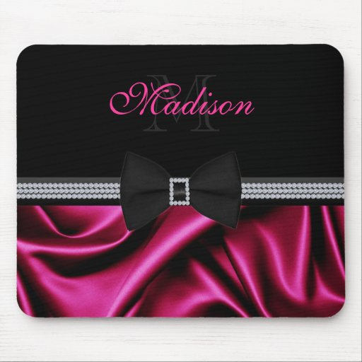 Elegant Magenta Printed Satin Bow Gems Custom Name Mouse Pads