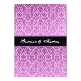 "Elegant Magenta Purple Damask Wedding Invitation 5"" X 7"" Invitation Card"