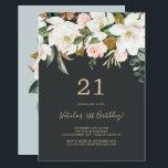 """Elegant Magnolia   Black and White 21st Birthday Invitation<br><div class=""""desc"""">This elegant magnolia black and white 21st birthday invitation is perfect for a modern classy event. The moody floral design features watercolor blush pink peonies, stunning white magnolia flowers and cotton with gold and green leaves in a luxurious arrangement on a dark background. Personalize the back of the card with...</div>"""