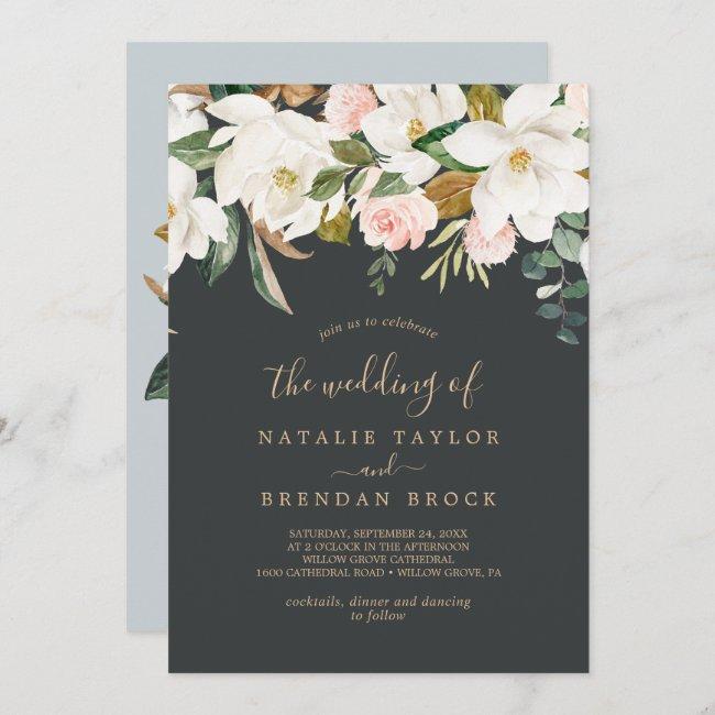 Elegant Magnolia   Black and White The Wedding Of Invitation