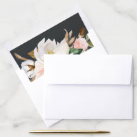 Elegant Magnolia | Black and White Wedding Envelope Liner