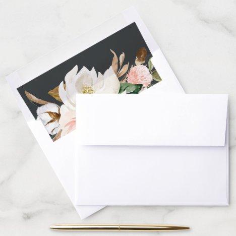 Elegant Magnolia | Black and White Wedding Envelope Liner