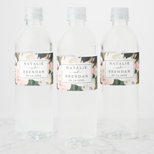 Wedding Water Bottle Labels.Elegant Magnolia Black And White Wedding Water Bottle Label