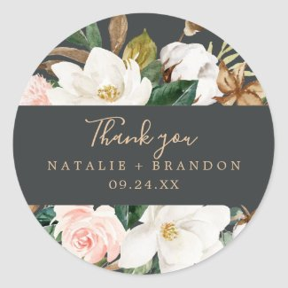 Elegant Magnolia | Black Thank You Favor Sticker