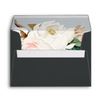 Elegant Magnolia | Black Wedding Invitation Envelope